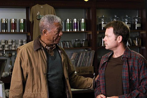 <em>Feast of Love</em> has Morgan Freeman playing a wise professor who counsels the lovelorn Greg Kinnear.