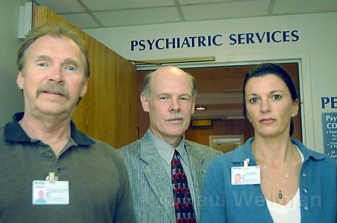 Team members at Cottage Hospital's psych unit want to admit clients of S.B. County Mental Health Services, but can't. From left: Clinical Nurse Coordinator Russ Chaffin, Psychiatric Services Director Paul Erickson, MD, and nurse Sabine Eden.
