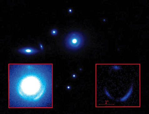 A photo of the newly discovered galaxycurrently dubbed SDSSJ0737+3216 after its celestial coordinatesshows the bright elliptical lens galaxy and its Einstein ring. The insets are a zoomed-in view, before (left) and after subtraction of the bright foreground galaxy, leaving the tiny background object ready for analysis by UCSB researchers Phil Marshall and Tommaso Treu.