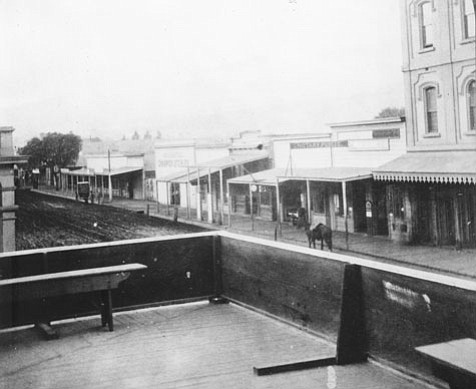In 1880, these wooden sidewalks on the 500 block of State Street were the precursor to the stone or concrete sidewalks that were required by law in 1888.