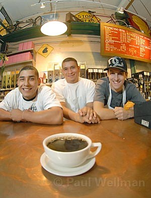 Daily Grind Coffee & Tea Station's baristas Richy, Ismael, and Jeff are ready with all of your caffeination needs.