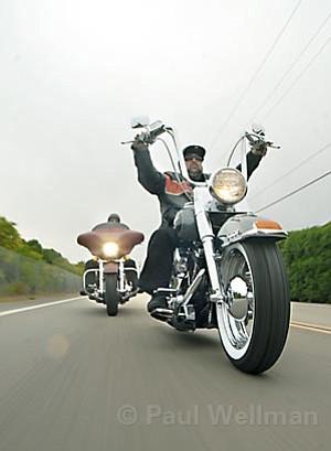 Finance Manager Joshua Jackson (left) and sales professional Big J (right) ride their Harleys to work at Santa Barbara Harley-Davidson.