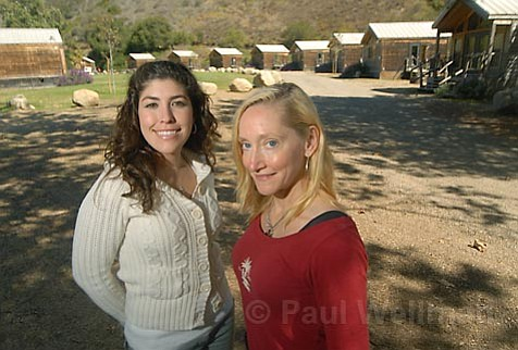 Reservations manager Kendra Summers (left) and massage therapist Linda Reith are at your service at El Capitan Canyon's upper meadows campground.