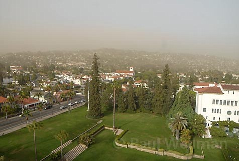 View of ash clouds from County Courthouse on Saturday afternoon.