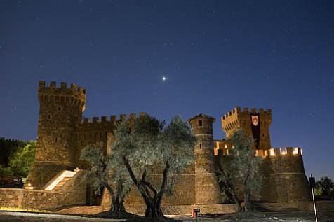 Castello di Amorosa at night.