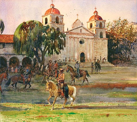 gathering at mission santa barbara watercolor