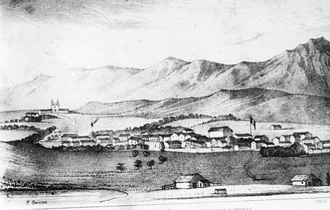 Santa Barbara around 1840 when the hide and tallow trade was a major part of the economy