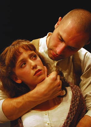 Matthew Horn and Jessie Sherman play troubled lovers in UCSB's <em>Woyzeck</em>.