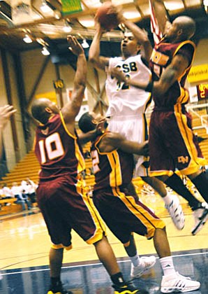 Senior guard Alex Harris muscles through the paint in UCSB's 61-57 victory over Cal State Dominguez Hills in the Gauchos' only exhibition game of the season.