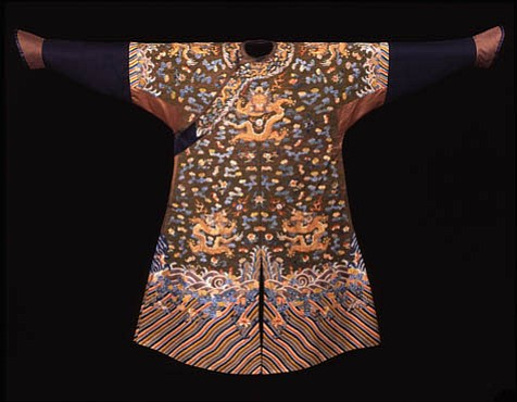Man's Dragon Robe (jifu) with Peacock Feather Embroidery, late 18th to early 19th century.