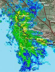 A radar shot of the storm that hit Santa Barbara on Tuesday.