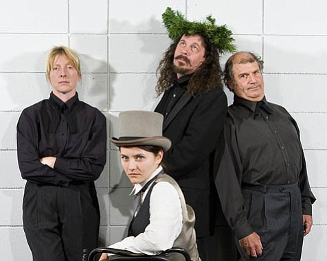 From left: Victoria Finlayson, Erin Brehm, James Connolly, and Stanley Hoffman (joined by Kate Paulsen [not shown]) portrayed more than 20 characters in this innovative version of Dickens's <em>A Christmas Carol</em>.