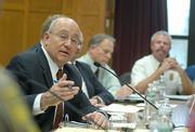 Assemblymember Pedro Nava at a hearing on Greka's oil spills.