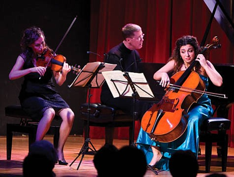 The evening's finale was a Mozart trio played by (from left to right) Catherine Leonard, Warren Jones, and Ani Aznavoorian.