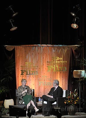 Cate Blanchett and Leonard Maltin on stage at the Arlington Theatre