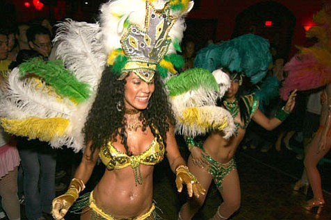Samba dancers performing at carnaval.