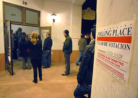 People lined up outside the polling precinct at Victoria and Anacapa in Santa Barbara.