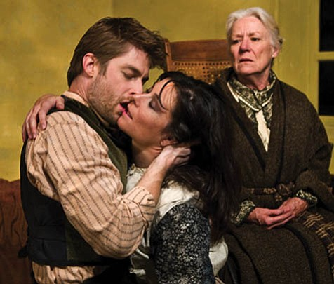 Married Therse (Lauren Lovett) can't keep her hands off her lover Laurent (Jamison Jones) even as her husband's mother, Madame Raquin (Barbara Tarbuck), looks on.