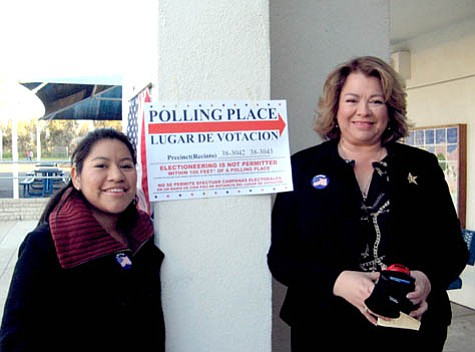 Silvia and Olivia Uribe voted in a U.S. election for the first time on Tuesday, Feb. 4.