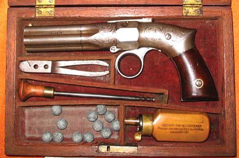 Pepperbox pistol circa 1800s.