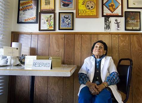 Matriarch Agnes Guevara at her family's Haley Street restaurant.