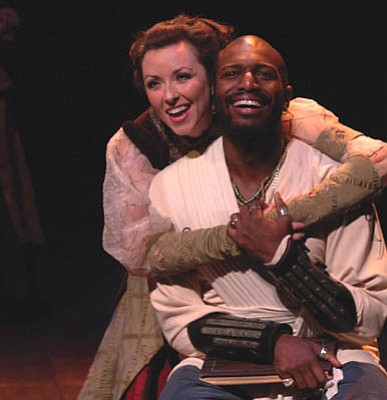 Vanessa Ballam as Desdemona and Corey Jones as Othello in PCPA's production of Shakespeare's <em>Othello</em>.