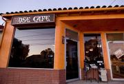 The colorful exterior of The Rose Cafe  on the mesa.