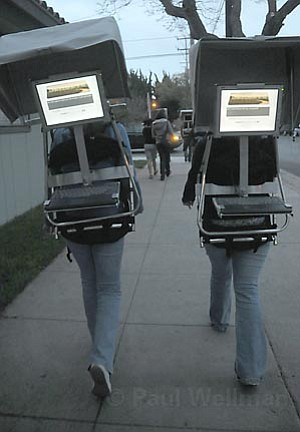 As part of the REGRETS project, students recently walked Milpas Street wearing backpacks with built-in computers and invited members of the public to enter their regrets into the project's database.