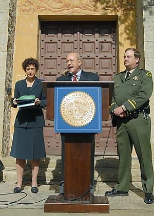 L to R Joyce Dudley, Assemblyman Pedro Nava, and Commander Darin Fotheringham of the Santa Barbara Sheriff's department