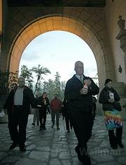 The march starts at the archway of the courthouse