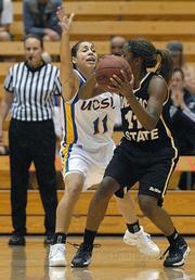 UCSB's Sha'Rae Gibbons (left) defends against Long Beach State's LaTorya Barbee.
