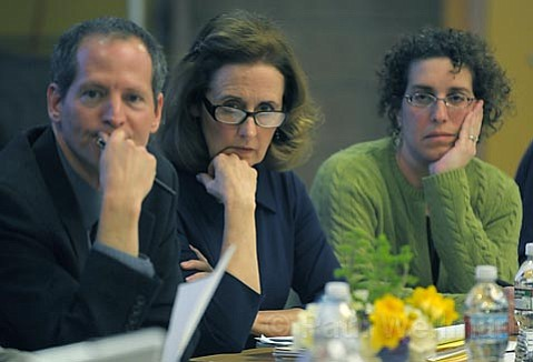 There was nothing easy about the decisions being made at the Hope School District School Board meeting Monday night, as evidenced by the hard looks on the faces of Board President Todd Sosna (left), Superintendent Gerrie Fausett (middle), and boardmember Elizabeth Owen.