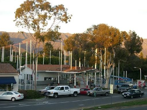 Story poles at the 76 Station on Coast Village Road.