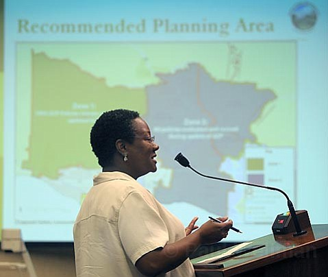 Pamela Easter speaking on the need for housing at the county's board of supervisors meeting.