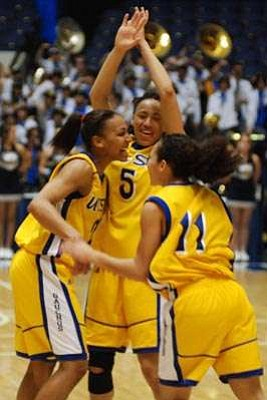 All-tournament players (from left) Whitney Warren, Jessica Wilson, and Sha'Rae Gibbons celebrate after UCSB's victory over UC Davis for the Big West Conference championship.
