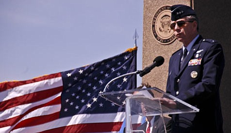 "Lt. Gen. Henry ""Trey"" Obering addresses an audience at the dedication of the Ronald W. Reagan missile defense site at Vandenberg Air Force Base."