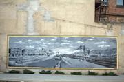 """Mural on the side of one of the downtown buildings portrays life in Bluefield in the """"good old days."""""""