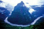 The gorge of the Tsangpo River in Tibet.