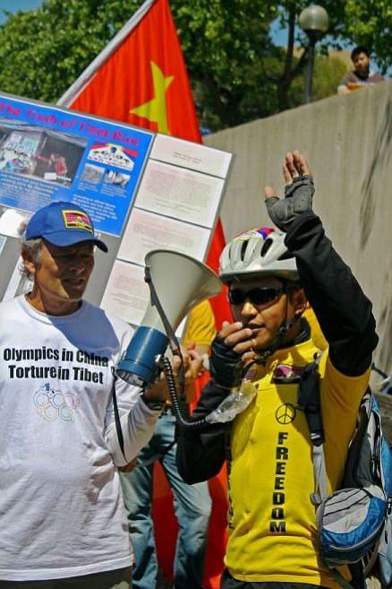 Tashi Dorjee, a TIbetan Freedom Rider, addresses the crowd.