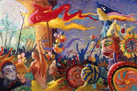 """Summer Solstice Celebration""a 1981 painting by Michael Gonzales"