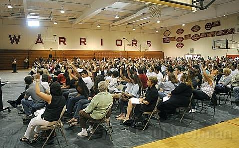 Carpinteria High School auditorium filled for the school board meeting