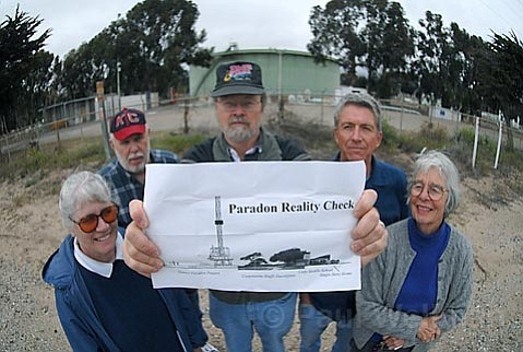 Taken last year in front of Venoco's property in Carpinteria, opponents of the Paredon oil drilling project (clockwise from left) Louise Moore and Dave Moore; Ted Rhodes, president of Citizens for the Carpinteria Bluffs; Al Clark, Carpinteria Valley Association; and Vera Bensen, Carpinteria 