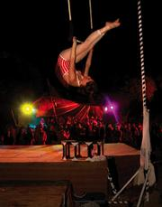 An aerialist wows the crowd at last year's Lightning in a Bottle festival.