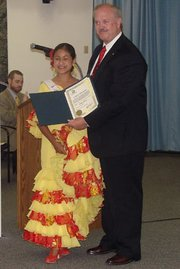 This year's Junior Spirit of Fiesta is Ashley Almada, a Goleta 6th-grader who attends Ellwood School. She danced for the Goleta City Council last week and was presented with a Certificate of Recognition for this achievement by Mayor Bennett.
