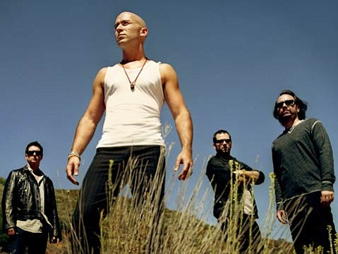The band Live were photographed in Ojai for their album Songs from Black Mountain. From left: drummer Chad Gracey, singer Ed Kowalczyk, guitarist Chad Taylor, and bassist Patrick Dahlheimer,