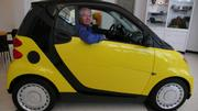 Barney in his brand new Smart car.