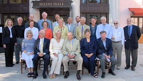 Stephen Hahn (center, seated) alongside NancyBell Coe (in black) and amid the board of the Music Academy of the West. Hahn is the principal patron of the Music Academy's new performance space, which will be known as Hahn Hall. The 350-seat theater was designed to accommodate every imaginable configuration of classical ensemble short of a full symphony orchestra. The new room has superb acoustics, spacious and comfortable seating, great sight lines, and new restrooms. The parking lot and approach to Hahn Hall has also been completely redesigned to make entering and exiting the Music Academy easier and more convenient.