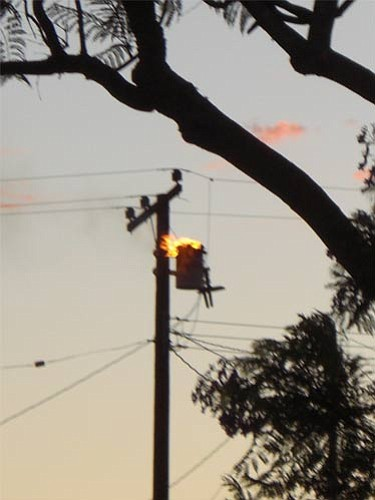 A burning transformer in the El Encanto Heights neighborhood.