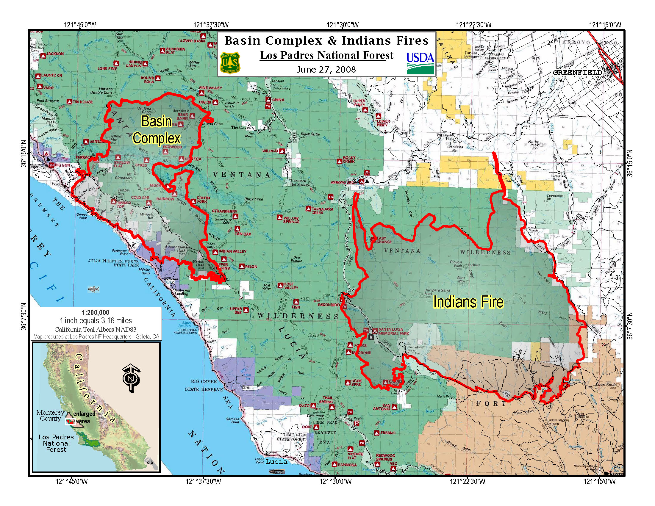 a june  map of the fires burning on california's central coast. update on central california fires