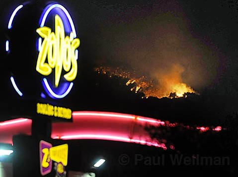 At 12:30 a.m. the power is back on in Goleta as the fire continues down the foothills